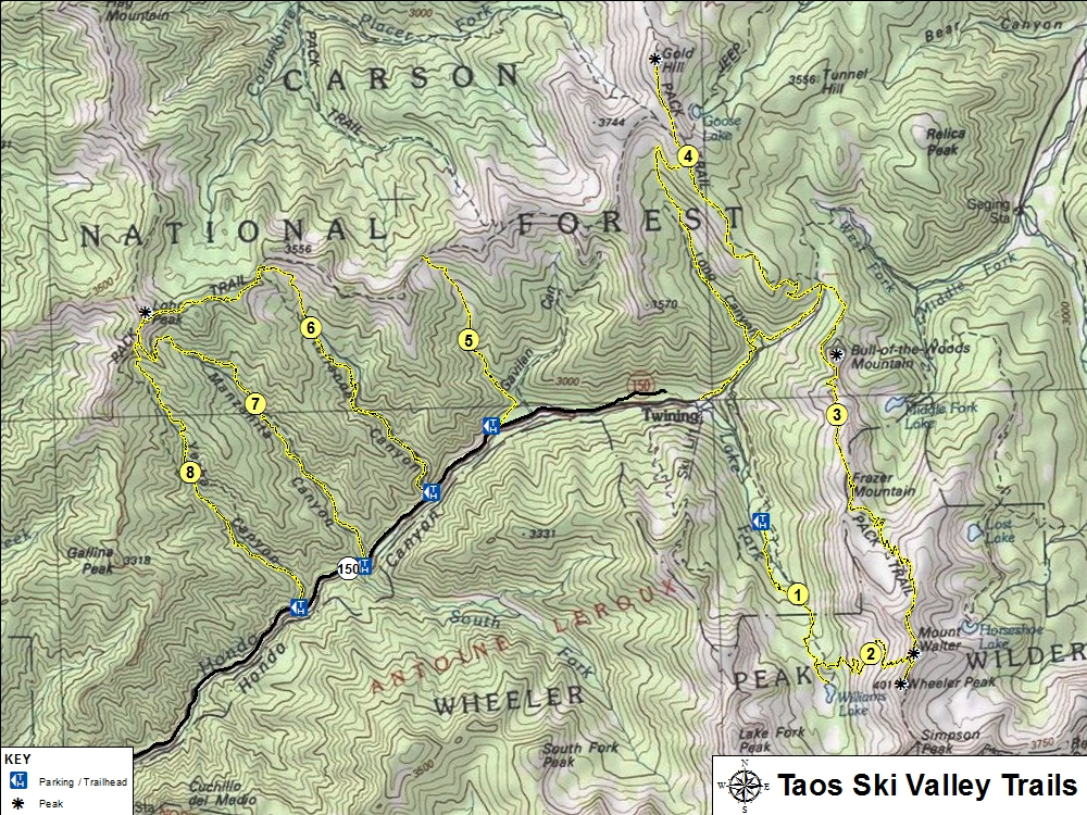 Hiking, Taos Ski Valley NM on carson national forest map, tome map, sipapu map, buena vista map, white sands national monument map, the world's map, white sands missile range map, sugarbush resort map, sangre de cristo mountains map, mountain high map, isleta map, santo domingo pueblo map, las cruces map, tesuque map, monticello map, rio hondo map, northeast new mexico map, rio costilla map, buddha map, santa ana pueblo map,